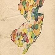 New Jersey Map Vintage Watercolor Art Print