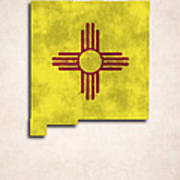 New Mexico Map Art With Flag Design Print by World Art Prints And Designs