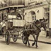 New Orleans - Carriage Ride Sepia Art Print