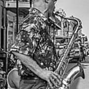 New Orleans Jazz Sax Bw Art Print