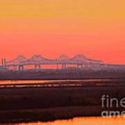 New Orleans Mississippi Bridge Art Print