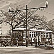 New Orleans Streetcar Sepia Art Print