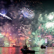 New Year Fireworks Hong Kong Asia Art Print