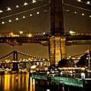New York - Brooklyn Bridge Night Art Print