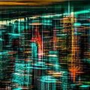 New York - The Night Awakes - Green Art Print