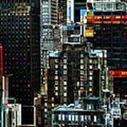 New York At Night - Skyscrapers And Office Windows Art Print