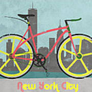 New York Bike Art Print by Andy Scullion