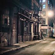 New York City Alley At Night Art Print