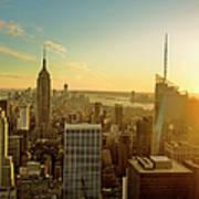 New York City At Sunset Art Print