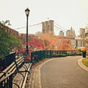 New York City - Autumn - Brooklyn Bridge And Foliage Art Print