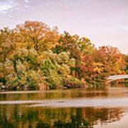 New York City - Autumn - Central Park - Lake And Bow Bridge Art Print