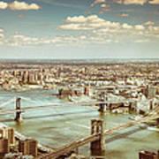 New York City - Brooklyn Bridge And Manhattan Bridge From Above Art Print