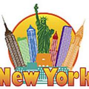 New York City Colorful Skyline In Circle Illustration Art Print