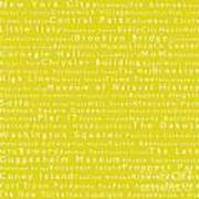 New York City In Words Yellow Art Print by Sabine Jacobs