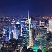 New York City Manhattan Night Panorama Art Print