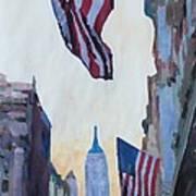 New York City - Manhattan Stars And Stripes Art Print