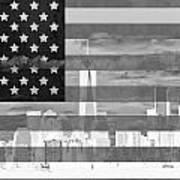 New York City On American Flag Black And White Art Print
