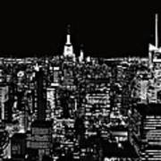 New York City Skyline At Night Art Print