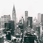 New York City - Snow-covered Skyline Art Print