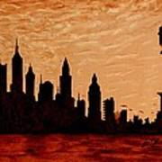 New York City Sunset Silhouette Art Print