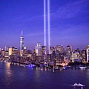 New York City Tribute In Lights World Trade Center Wtc Manhattan Nyc Art Print