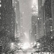 New York City - Winter Night Overlooking the Chrysler Building Art Print