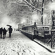 New York City - Winter - Snow At Night Art Print by Vivienne Gucwa