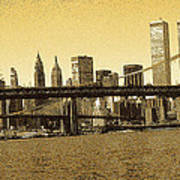 New York Downtown Manhattan Skyline - Yellow Panorama Art Print