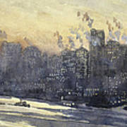 New York Harbor And Skyline At Night Circa 1921 Art Print