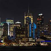 New York In Blue Print by Mike Reid