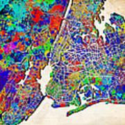New York Map Abstract 2 Art Print