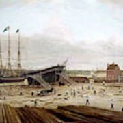 New York Shipyard, 1833 Art Print