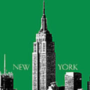 New York Skyline Empire State Building - Forest Green Print by DB Artist