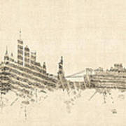 New York Skyline Sheet Music Cityscape Art Print