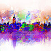 New York Skyline Splats 3 Art Print by Bekim Art