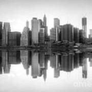 New York Skyline Sunset Bw Art Print