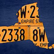 New York State License Plate Map Art Print