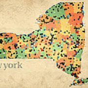 New York State Map Crystalized Counties On Worn Canvas By Design Turnpike Art Print by Design Turnpike
