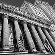 New York Stock Exchange Wall Street Nyse Bw Art Print