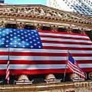 New York Stock Exchange With Us Flag Art Print
