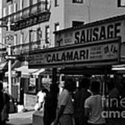 New York City Street Fair - Calamari Sausage - Black And White  Art Print