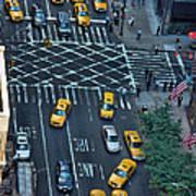 New York Taxi Rush Hour Art Print