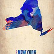 New York Watercolor Map Art Print