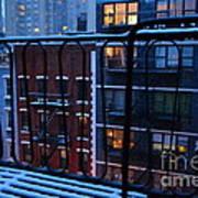 New York Window - Fire Escape In Winter Art Print