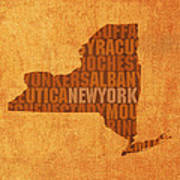 New York Word Art State Map On Canvas Art Print