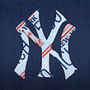 New York Yankees Baseball Team Vintage Logo Recycled Ny License Plate Art Art Print