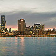 New York City - Brooklyn Bridge To Manhattan Bridge Panorama Art Print