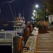 Newburyport Docks Full Moon Art Print