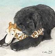 Newfoundland Dog In Snow Stuffed Animal Cathy Peek Art Art Print