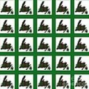 Newfoundland Tartan Map Blocks Green Trim Art Print